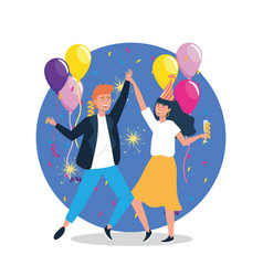 Woman and man dancing with balloons and hat vector