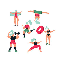 workout in gym and park on white background vector image