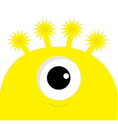 Yellow monster head with one eye funny cute vector