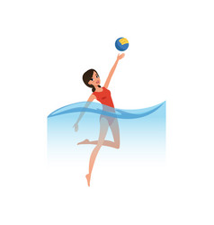 young woman playing water polo water sport vector image