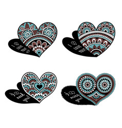 zentangle doodle hearts for valentines day set vector image
