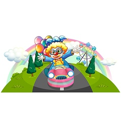 A clown riding in a pink car with balloons vector image vector image