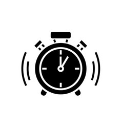 alarm clock icon black sign vector image