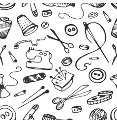 Doodle pattern of tailor business vector image vector image