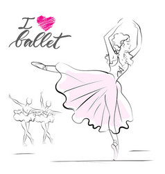 drawing of young ballerina vector image