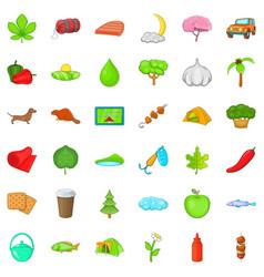 fishing nature icons set cartoon style vector image