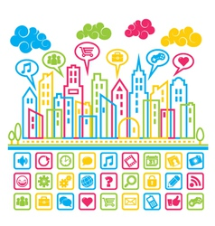 Social Media City vector image vector image