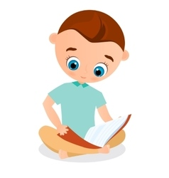 Young boy reading a book sitting on the floor vector image