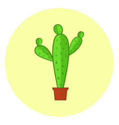 cute colorful cacti icon bright cactus in a pot vector image