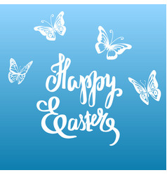 easter vintage card with butterflies and vector image