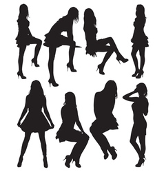 eight silhouettes of beautiful girls vector image