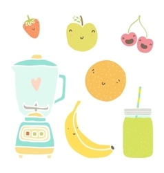 hand drawn isolated fruits blender and vector image vector image
