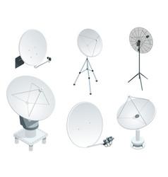 isometric set satellite dish antennas on white vector image