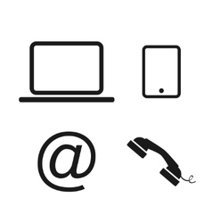 Laptop phone and email icons vector image