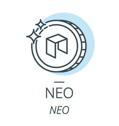 neo cryptocurrency coin line icon of virtual vector image vector image
