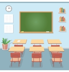 School classroom with chalkboard and desks Class vector image