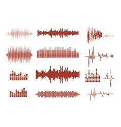 Sound waves set Music waves icons Audio vector image vector image