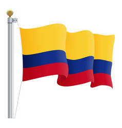 waving colombia flag isolated on a white vector image