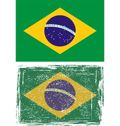Brazilian grunge flag vector image vector image