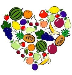 fruits heart vector image