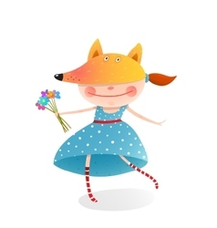 Girl in a mask fox with bouquet of flowers vector image vector image