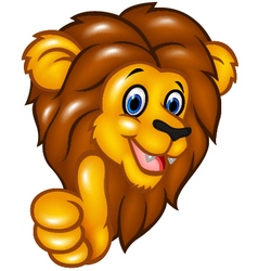 Happy lion mascot giving thumbs up vector image vector image