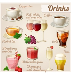 Set of food icons Drinks vector image vector image