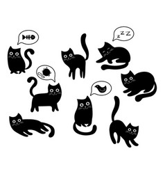 a set of black cats a collection of cartoon cats vector image vector image