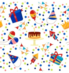 Happy Birthday Seamless Pattern with Cake Balloons vector image