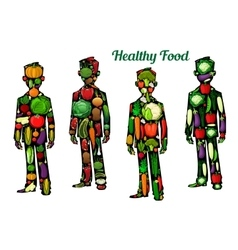 Healthy food nutrition Human body icons vector image