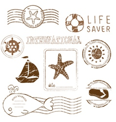 sea elements - rubber stamp collection vector image vector image