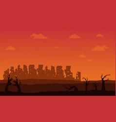 silhouette of broken forest and city vector image vector image