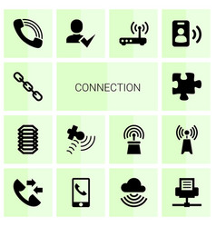 14 connection icons vector image