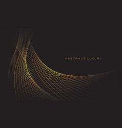 Abstract gold line curve wave on black luxury vector