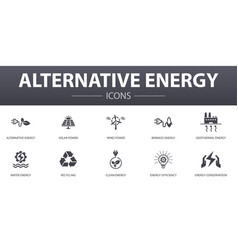 alternative energy simple concept icons set vector image