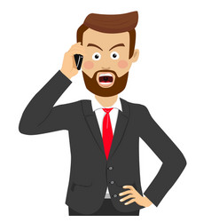 Angry businessman talking on the phone vector