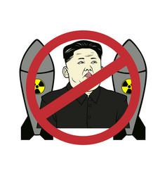 Anti kim jong-un control nuclear flat design vector