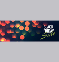 black friday sale banner with bokeh lights vector image