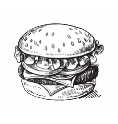 Black hand drawn hamburger vector