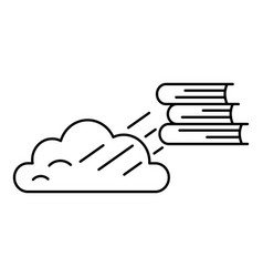 Book cloud transfer icon outline style vector