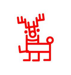 Cartoon deer marker style red vector