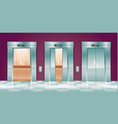 Cartoon lift doors empty elevator cabins vector