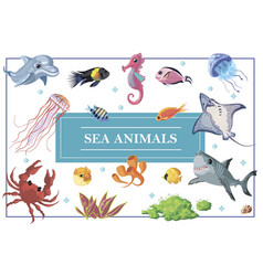 cartoon sea life concept vector image