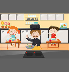 chef cooking and kids eating in kitchen vector image