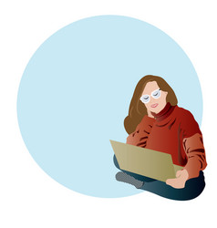 chic girl with laptop vector image