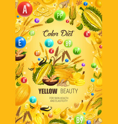 Color diet yellow healthy food skin health vector