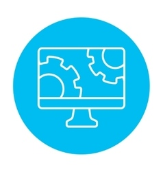 Computer monitor with gears line icon vector image