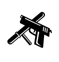 Crossed police baton truncheon and hand gun retro vector