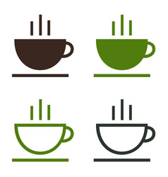 cup of coffee tea hot drink simple icon set vector image