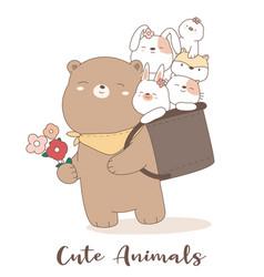 cute baby animal cartoon hand drawn style vector image